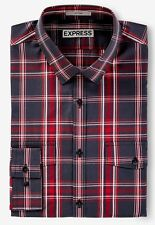 New Express $70 Black & Red Fitted Plaid Going Out Shirt Sz Xxl