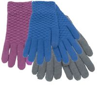 Ladies Textured Touch Screen Gloves Fleece Thermal Warm Textured Gloves One Size