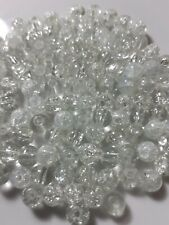 120 Pieces Of Transparent/White Crackle Glass Beads Loose 6mm approx LAST PACK