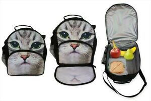 NEW - Cute Cat/Kitten Design Carry Insulated Lunch Bag/Box Ideal Back To School