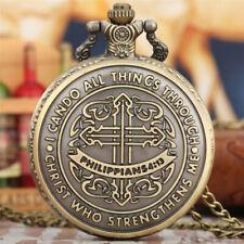 Vintage Philippians 4:13 Men Quartz Pocket Watch Necklace Chain Full Hunter Fob