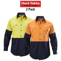 Mens Hard Yakka Shirt Hi-Vis 2 Pack Long Sleeve Drill Work Safety Cotton Y07982