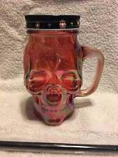 NEW Day of The Dead Sugar Skull mason Glass Mason drinking Jar w/straw 15.8oz