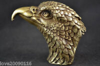 Collectibles Old Decorated Pure Copper brass Handwork Carving Eagle Head Statue