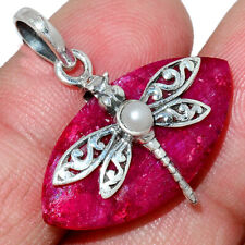 Dragonfly - Ruby & Pearl 925 Sterling Silver Pendant Jewelry AP182616