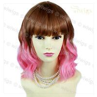 Lovely Short Curly Brown red & Pink Skin Top Hair Cosplay Ladies Wigs WIWIGS UK