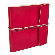 Fair Trade Handmade 3 String Red Leather Photo Album Scrapbook