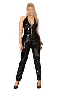 Women Plus Size Curvy Deep V Zip Up Vinyl Catsuit Bodystocking Lingerie