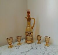 Vintage Amber Gold Glass Decanter w/4 Matching Glasses with Gold Overlay