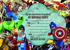 NEW boys Birthday Party Invitations Lego hero.Lego Marvel hero (Thick Card) x10