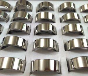 50PCS Men's Silver Simple band rings 8mm Women Stainless steel Wedding Rings