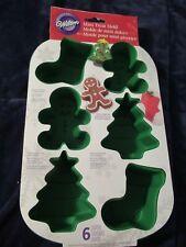 Wilton Christmas Tree, Gingerbread Man, & Stocking Silicone Mini Treat Mold-New