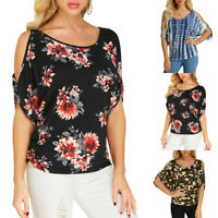 Women Summer Cold Shoulder Tunic Tops Casual Floral T Shirt Plus Size Blouse New