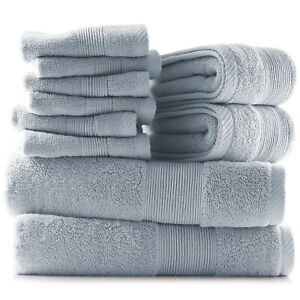 10 Piece Towel Set Ultra Soft 100% Cotton Towels Bath Hand & Washcloths Set