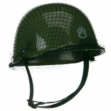 Child Plastic Green Army Helmet Hat Military Soldier Costume Accessory