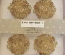 NEW KIM SEYBERT LIVING GOLD BEADED  SET OF 4 NAPKINS RINGS
