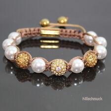 Damen Perlen Kristall braun light  Shamballa Armband  Armreifen  verstellbar