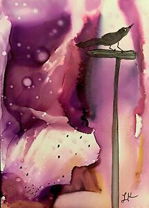 "ACEO original black BIRD post purple painting by Lynne Kohler 2.5x3.5"""