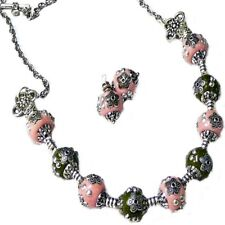 Necklace earring set, Indonesian bead, silver pink green clip on or pierced
