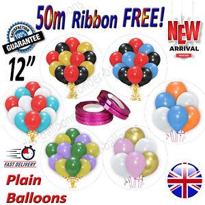"12""inch x 30 Large Plain Balloons Helium Quality Party Wedding Birday BALOONS UK"