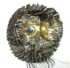 VINTAGE RARE TIN OWL FIGURE FOLK ART SNIP CUT BENT ARTWORK INTRICATELY FEATHERS