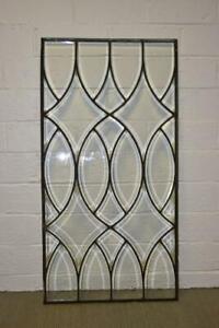 """Antique Beveled Glass Window Door Panel 45"""" x 23"""""""