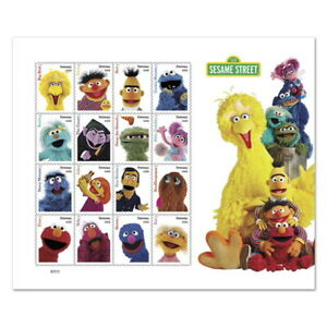 SESAME STREET MUPPETTS 16 CHARACTERS 50th ANN. 2019 US FOREVER STAMP SHEET #5934