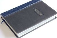 UKRAINIAN Bible leatherette blue grey soft cover NEW leather 24x17cm 9x7in