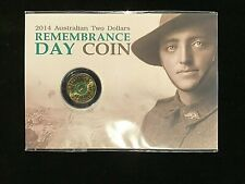 2014 UNC $2 REMEMBRANCE DAY GREEN COIN ON CARD