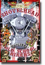 HARLEY DAVIDSON OLD SCHOOL SHOVELHEAD MOTORCYCLE TATTOO STURGIS BIKER ART PRINT