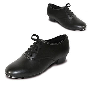 ROCH VALLEY PBT BOYS PU OXFORD TAP BLACK SHOES FITTED TOE TAPS