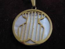 "Shiny Brass STRIPED SPANISH BEAR DESIGN Mother of Pearl Pendant w/ 18"" Necklace"