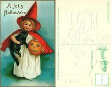 HALLOWEEN POSTCARD BRAND NEW UNUSED EMBOSSED GIRL w/ BLACK CAT & JACK-O-LANTERN