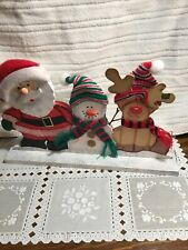 Wooden Santa, Reendeer And Snowman All Decked Out For Christmas