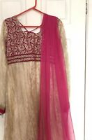 Floor Length PinK/gold Salwarkameez/ Kurtha. Bollywood, Indian, Pakistani Dress