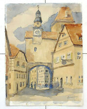 Antique watercolor drawing Vilnius old town. Signed