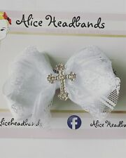 WHITE 3'' CHRISTENING HAIR CLIP BOW GIRLS KIDS ALLIGATOR CLIP BAPTISM CROSS