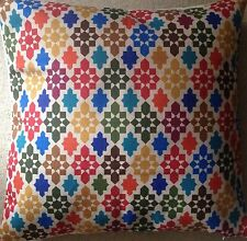 "Moroccan Floor Cushion Cover Red Yellow Blue Green 90cm 36"" Geometric"