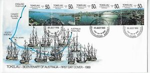 L4551 TOKELAU FIRST DAY COVER FDC BICENT AUSTRALIA 1988 NAVIGATION BOATS SHIPS
