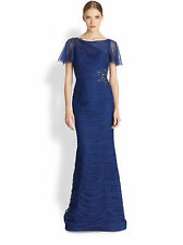 NWT Rickie Freeman for Teri Jon Royal Blue Ruched Tulle Beaded Caplet Gown 6