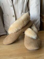 Qwaruba Sophie Ladies Chestnut Shearling Slippers W/ Rubber Sole Sz 7