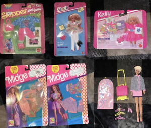 Lot Of 6 Barbie Stacie#14390 & Skipper Pet Pals Fashions#2958 & Kelly,Midge Sets