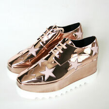 STELLA McCARTNEY wood platform metallic Elyse Hackney star oxford shoes 41 NEW