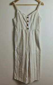 NWT Cotton On Size S/P 'Woven Tony Strappy Jumpsuit' Riveria Stripe Curry - GH4E