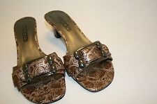 "Moda Spana 6.5 M Womens Brown Faux Reptile Sandal Shoes 2"" Heels Mules Buckle"