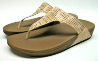 Fitflop Wobbleboard Peach Suede Beaded Casual Thong Sandals Womens 9 M