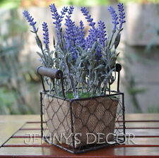 HOME DECOR HOUSE OFFICE PLANTS ARTIFICIAL FLOWERS LAVENDERS IN WIRE BASKET POT A