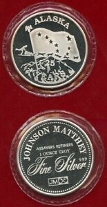 ALASKA 25TH ANNIVERSARY 1 OZ .999 FINE SILVER BY JOHNSON MATTHEY  (FROSTED PROOF