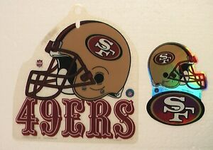 49ers SAN FRANCISCO NFL FOOTBALL OFFICIAL PLASTIC ORNAMENT + TWO UNUSED STICKERS