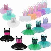 Kids Girls Ballet Dance Leotard Tutu Dress Gymnastics Mermaid Dancewear Costume